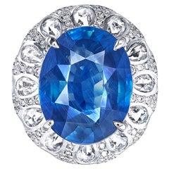 Emilio Jewelry 10.00 Carat Unheated Sapphire Ring