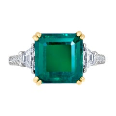 Emilio Jewelry 10.81 Carat Certified No Oil Untreated Colombian Emerald Ring