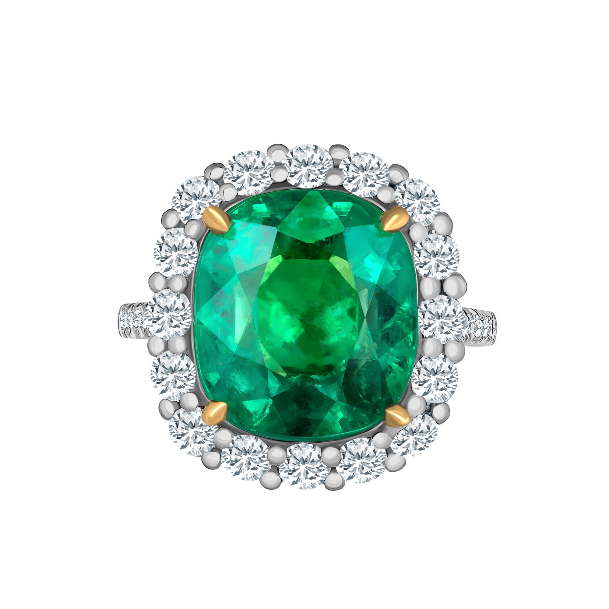 Emilio Jewelry 11.75 Carat Colombian Emerald Diamond Ring
