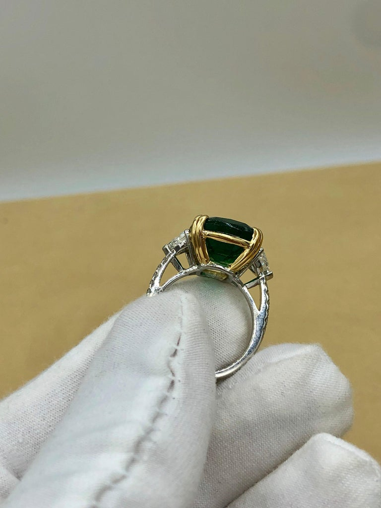 Emilio Jewelry 12.27 Carat Certified Genuine Emerald Diamond Ring For Sale 8