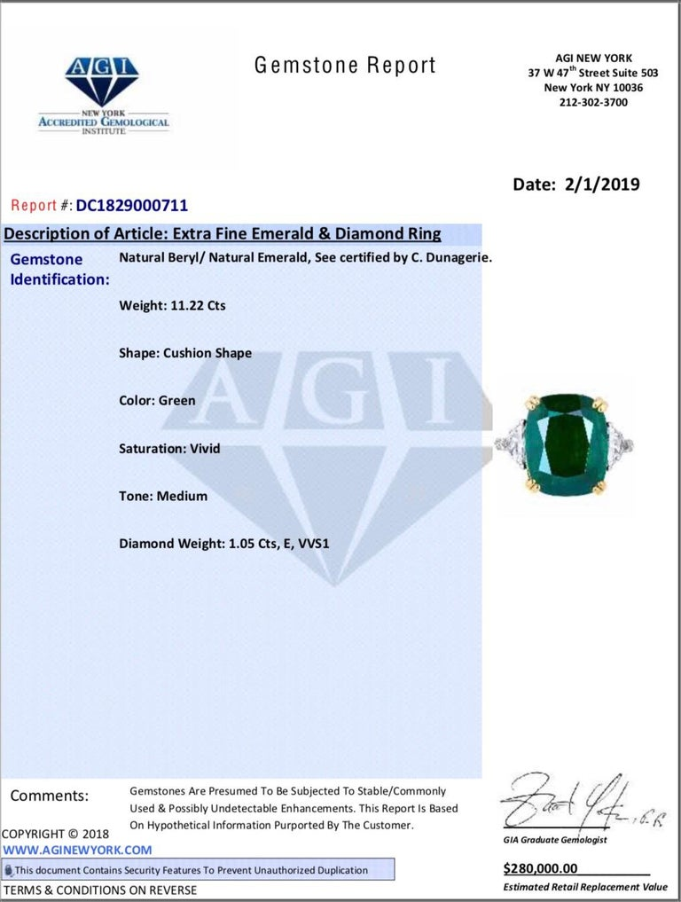 Emerald Cut Emilio Jewelry 12.27 Carat Certified Genuine Emerald Diamond Ring For Sale