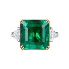 Emilio Jewelry 12.29 Carat Emerald Diamond Ring