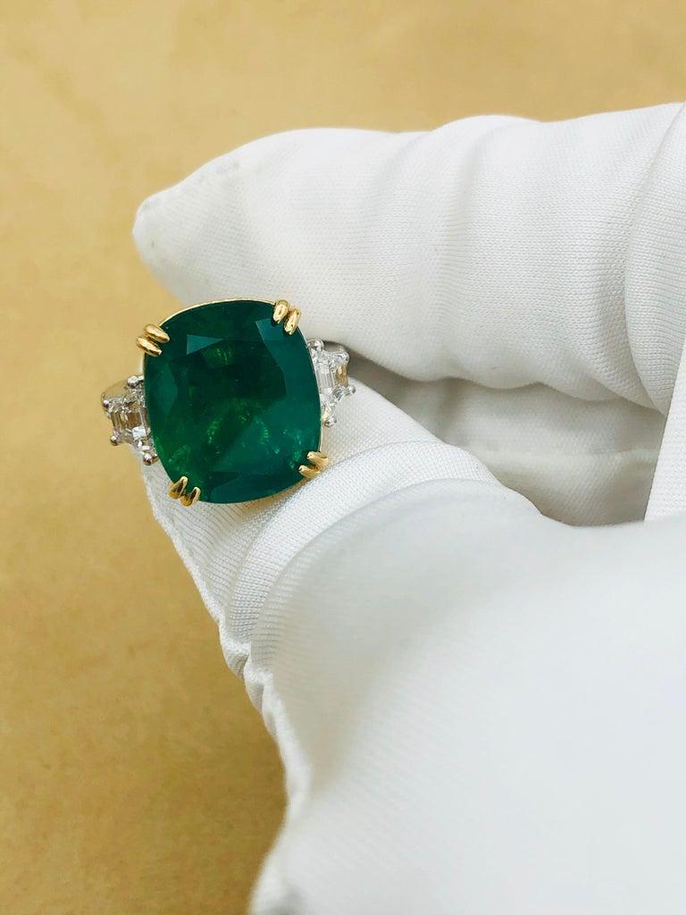 Emilio Jewelry 12.43 Carat Certified Vivid Green Cushion Emerald Diamond Ring For Sale 8