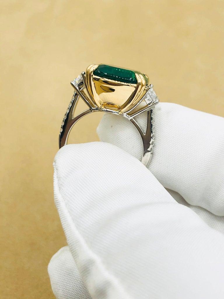 Emilio Jewelry 12.43 Carat Certified Vivid Green Cushion Emerald Diamond Ring For Sale 9