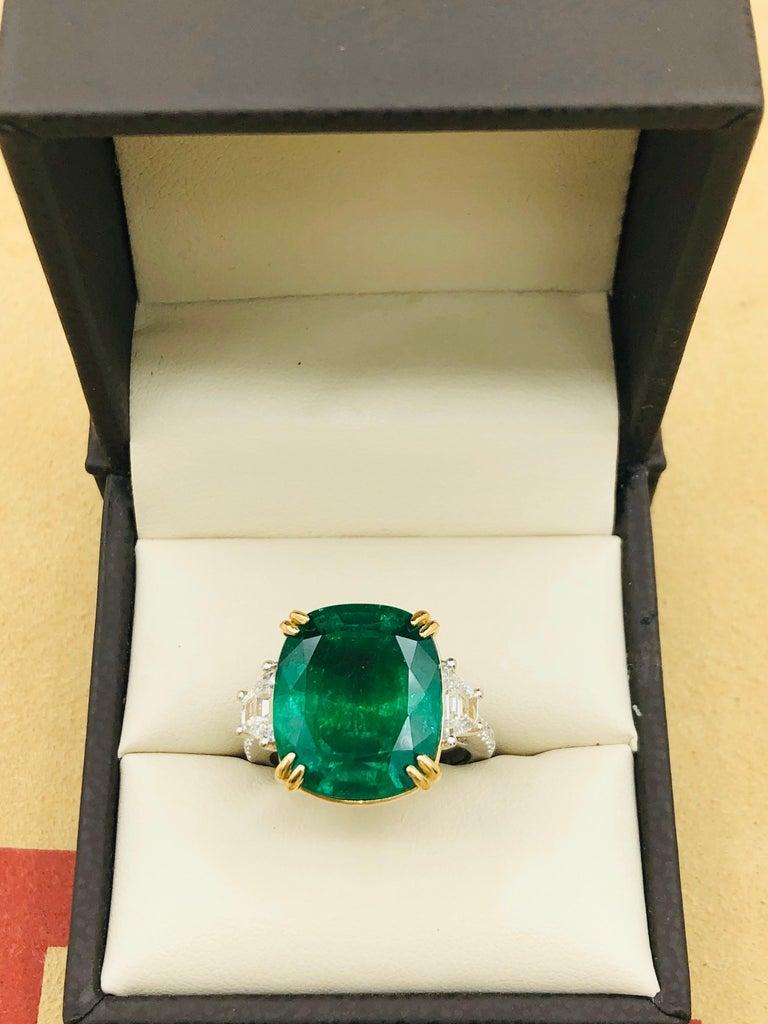 Emilio Jewelry 12.43 Carat Certified Vivid Green Cushion Emerald Diamond Ring For Sale 10
