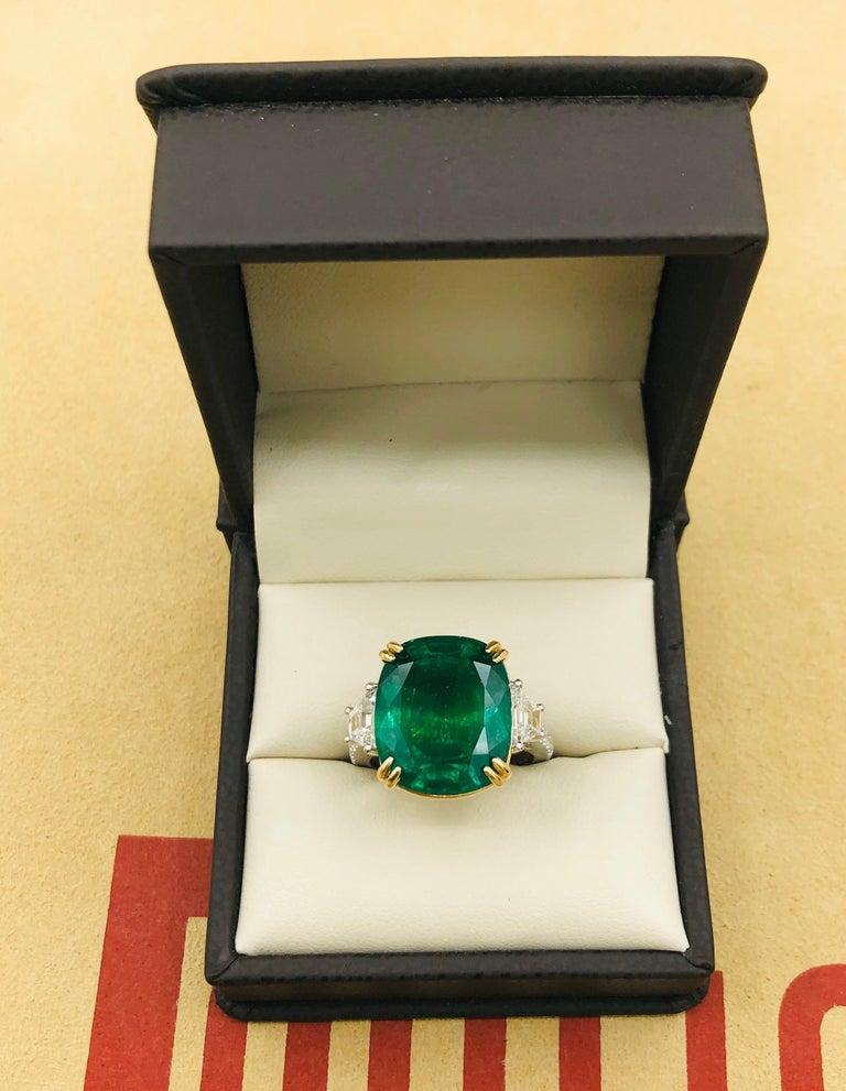Emilio Jewelry 12.43 Carat Certified Vivid Green Cushion Emerald Diamond Ring For Sale 11
