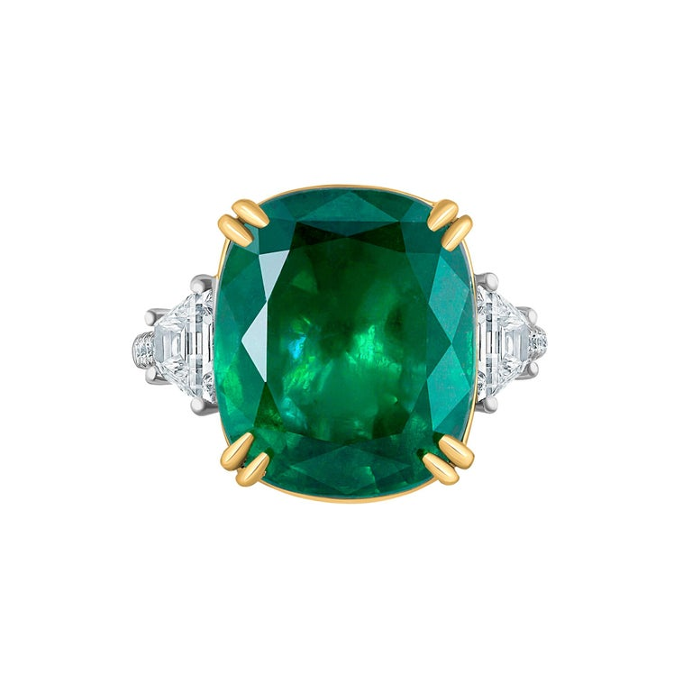 Emilio Jewelry 12.43 Carat Certified Vivid Green Cushion Emerald Diamond Ring For Sale 12