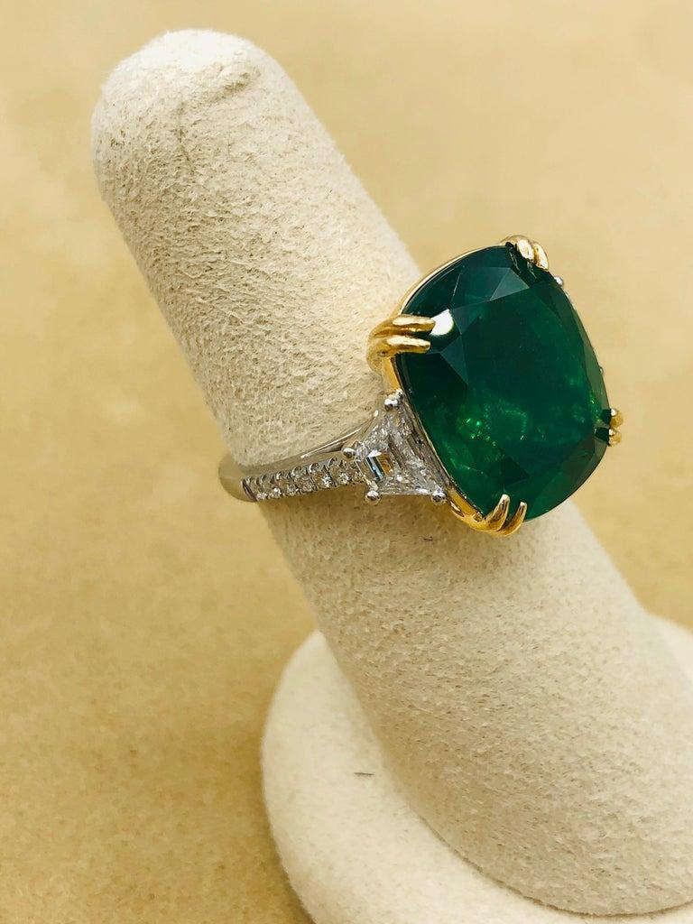Emilio Jewelry 12.43 Carat Certified Vivid Green Cushion Emerald Diamond Ring For Sale 1
