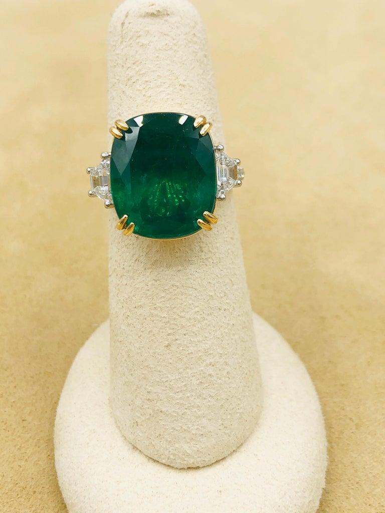 Emilio Jewelry 12.43 Carat Certified Vivid Green Cushion Emerald Diamond Ring For Sale 2