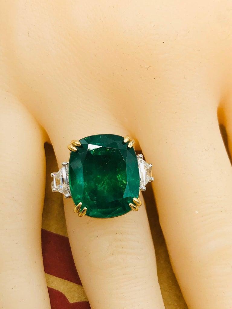 Emilio Jewelry 12.43 Carat Certified Vivid Green Cushion Emerald Diamond Ring For Sale 3