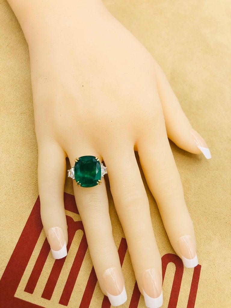 Emilio Jewelry 12.43 Carat Certified Vivid Green Cushion Emerald Diamond Ring For Sale 4