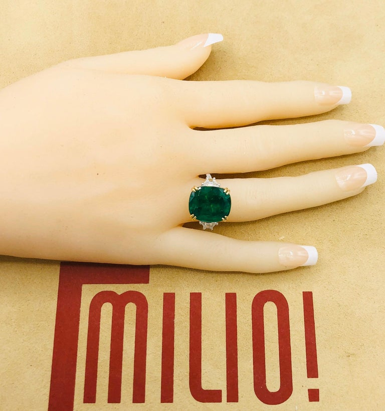 Emilio Jewelry 12.43 Carat Certified Vivid Green Cushion Emerald Diamond Ring For Sale 6