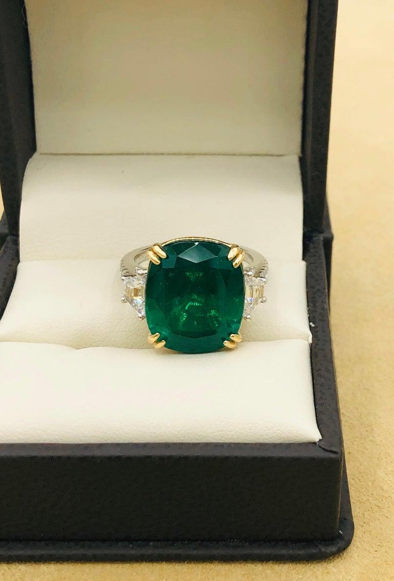 Emilio Jewelry 12.43 Carat Certified Vivid Green Cushion Emerald Diamond Ring For Sale 7