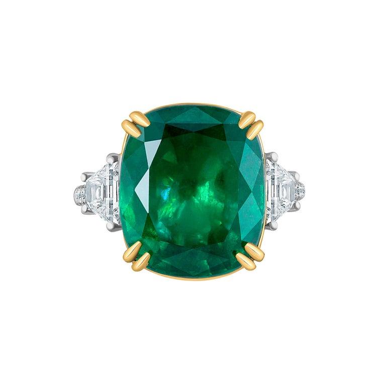 Emilio Jewelry 12.43 Carat Certified Vivid Green Cushion Emerald Diamond Ring For Sale
