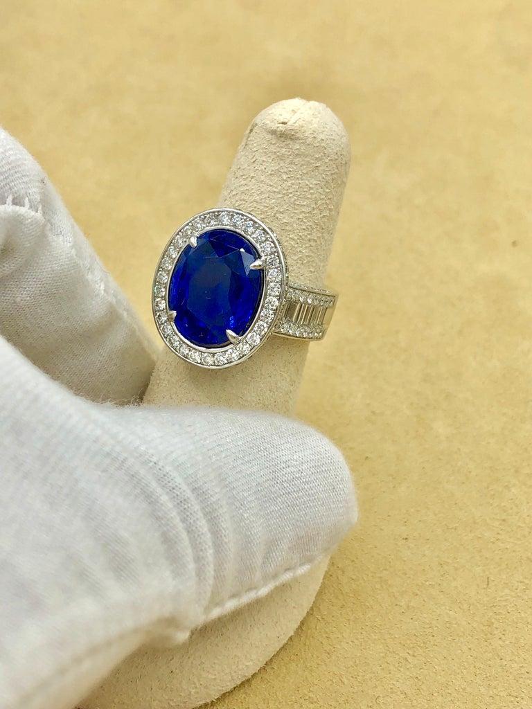 Emilio Jewelry 12.70 Carat Unheated Certified Ceylon Sapphire Diamond Ring For Sale 6