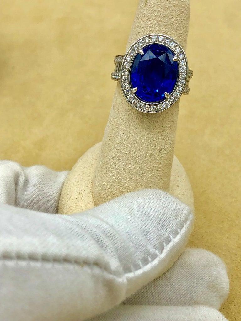 Emilio Jewelry 12.70 Carat Unheated Certified Ceylon Sapphire Diamond Ring For Sale 8