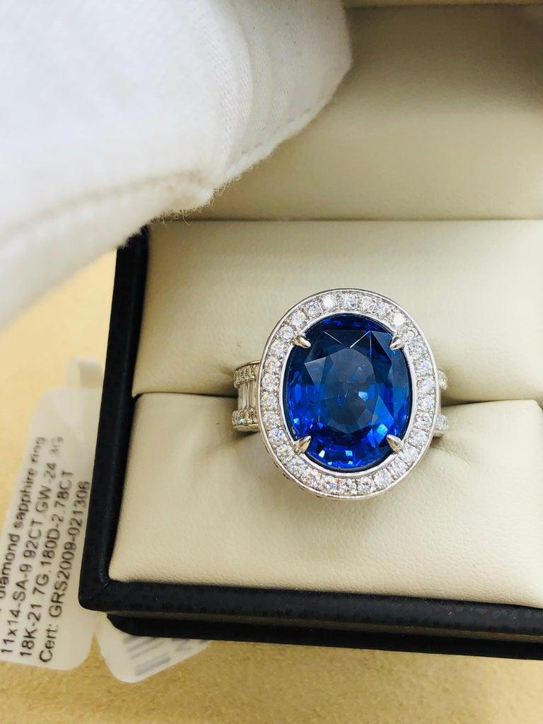 Emilio Jewelry 12.70 Carat Unheated Certified Ceylon Sapphire Diamond Ring For Sale 9