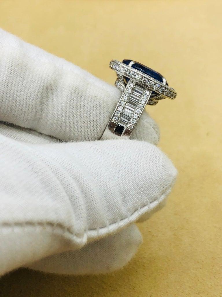 Emilio Jewelry 12.70 Carat Unheated Certified Ceylon Sapphire Diamond Ring For Sale 10