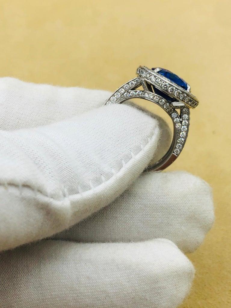 Emilio Jewelry 12.70 Carat Unheated Certified Ceylon Sapphire Diamond Ring For Sale 11