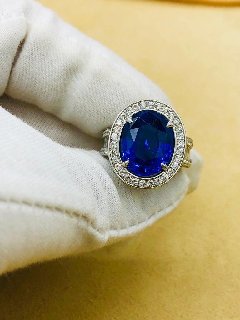 Emilio Jewelry 12.70 Carat Unheated Certified Ceylon Sapphire Diamond Ring For Sale 12