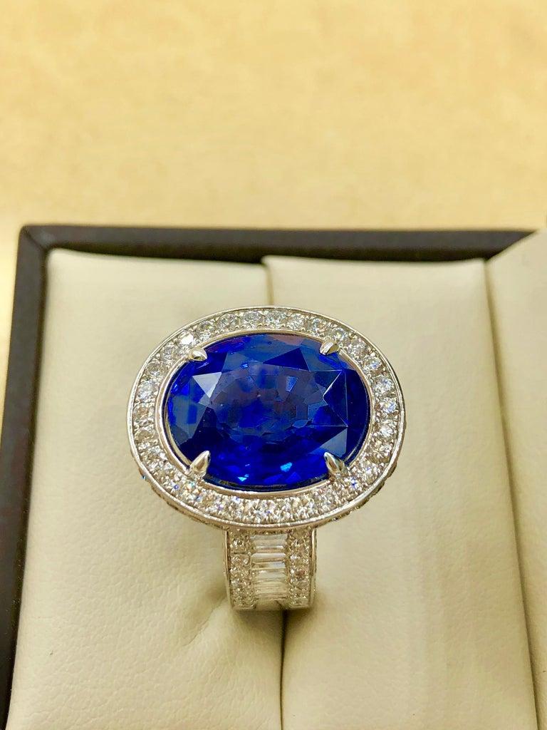 Emilio Jewelry 12.70 Carat Unheated Certified Ceylon Sapphire Diamond Ring For Sale 13