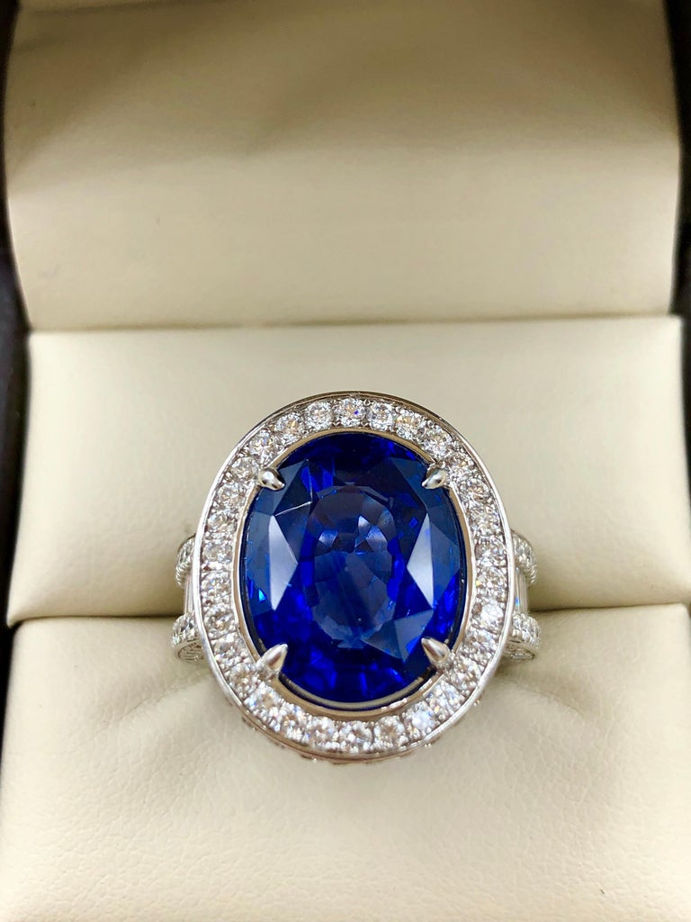 Emilio Jewelry 12.70 Carat Unheated Certified Ceylon Sapphire Diamond Ring For Sale 14