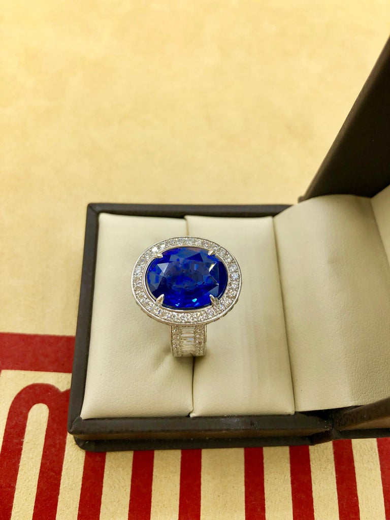 Emilio Jewelry 12.70 Carat Unheated Certified Ceylon Sapphire Diamond Ring For Sale 16