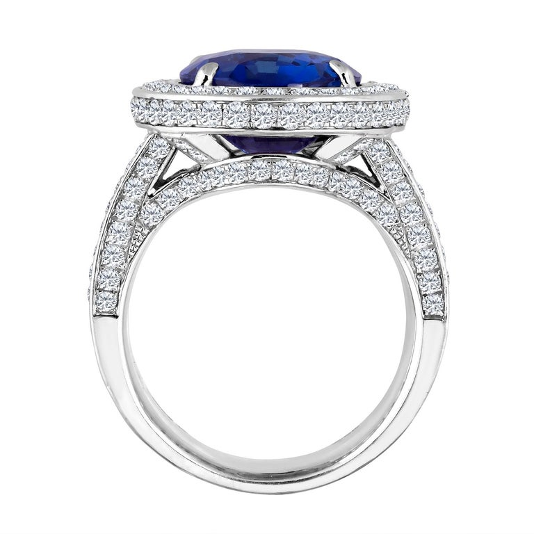 Emilio Jewelry 12.70 Carat Unheated Certified Ceylon Sapphire Diamond Ring In New Condition For Sale In New York, NY
