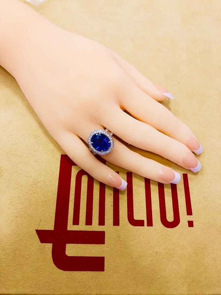 Emilio Jewelry 12.70 Carat Unheated Certified Ceylon Sapphire Diamond Ring For Sale 2