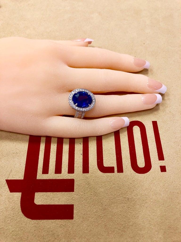 Emilio Jewelry 12.70 Carat Unheated Certified Ceylon Sapphire Diamond Ring For Sale 3