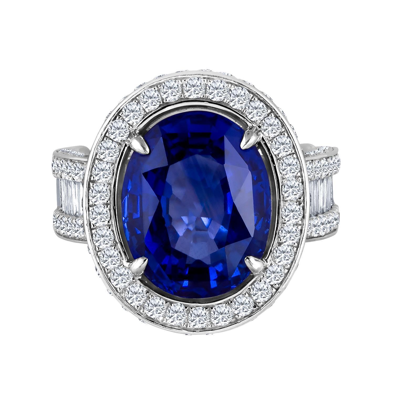 Emilio Jewelry 12.70 Carat Unheated Certified Ceylon Sapphire Diamond Ring