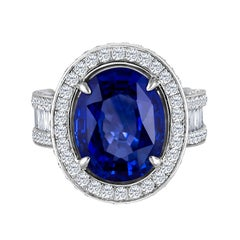 Emilio Jewelry 12.70 Carat Unheated Certified Ceylon Sapphire Diamond Ring
