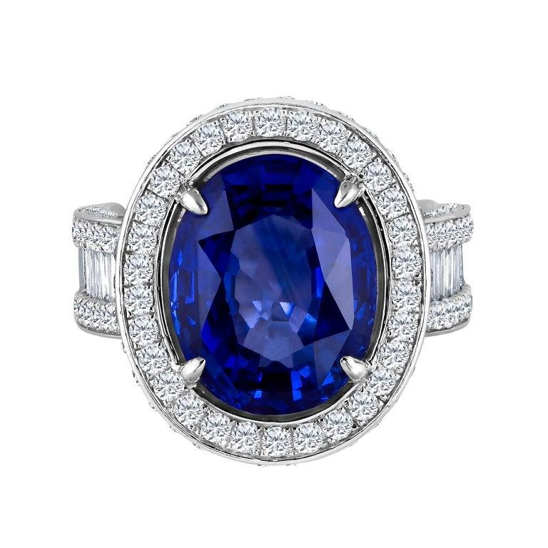 Emilio Jewelry 12.70 Carat Unheated Certified Ceylon Sapphire Diamond Ring For Sale