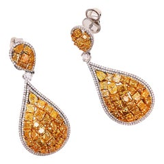Emilio Jewelry 12.75 Carat Fancy Yellow Diamond Earrings