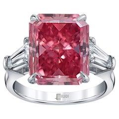 Emilio Jewelry 1.40 Carat Fancy Vivid Pure Pink Diamond Ring