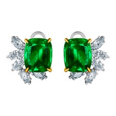 Emilio Jewelry 14.62 Carat Certified Vivid Green Emerald Diamond Earrings