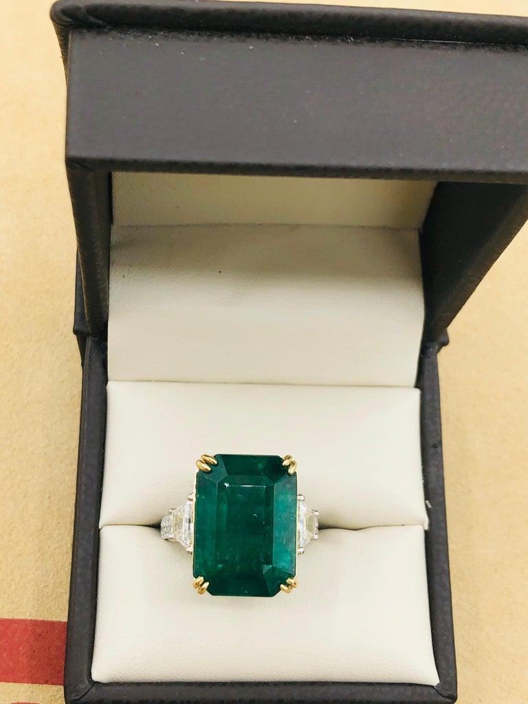 Emilio Jewelry 16.98 Carat Vivid Green Emerald Diamond Ring For Sale 10