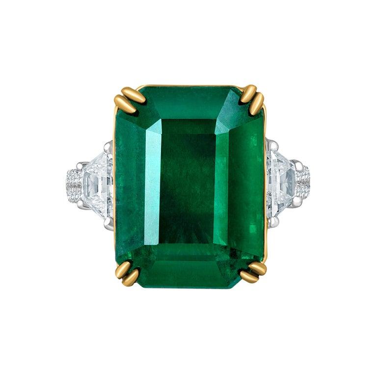 Emilio Jewelry 16.98 Carat Vivid Green Emerald Diamond Ring For Sale 1