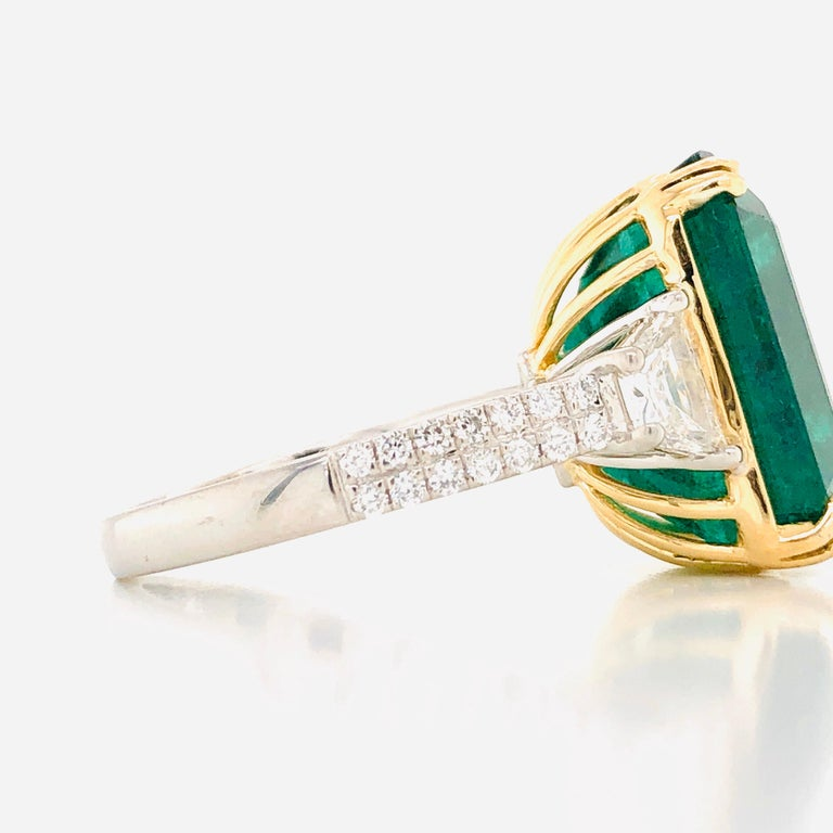 Emilio Jewelry 16.98 Carat Vivid Green Emerald Diamond Ring For Sale 7