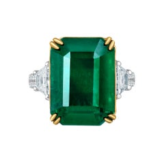 Emilio Jewelry 16.98 Carat Vivid Green Emerald Diamond Ring