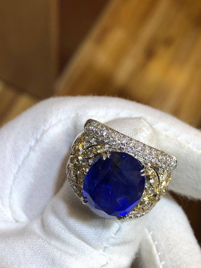 Emilio Jewelry 17.00 Carat AGL Certified Unheated Ceylon Sapphire Diamond Ring For Sale 6