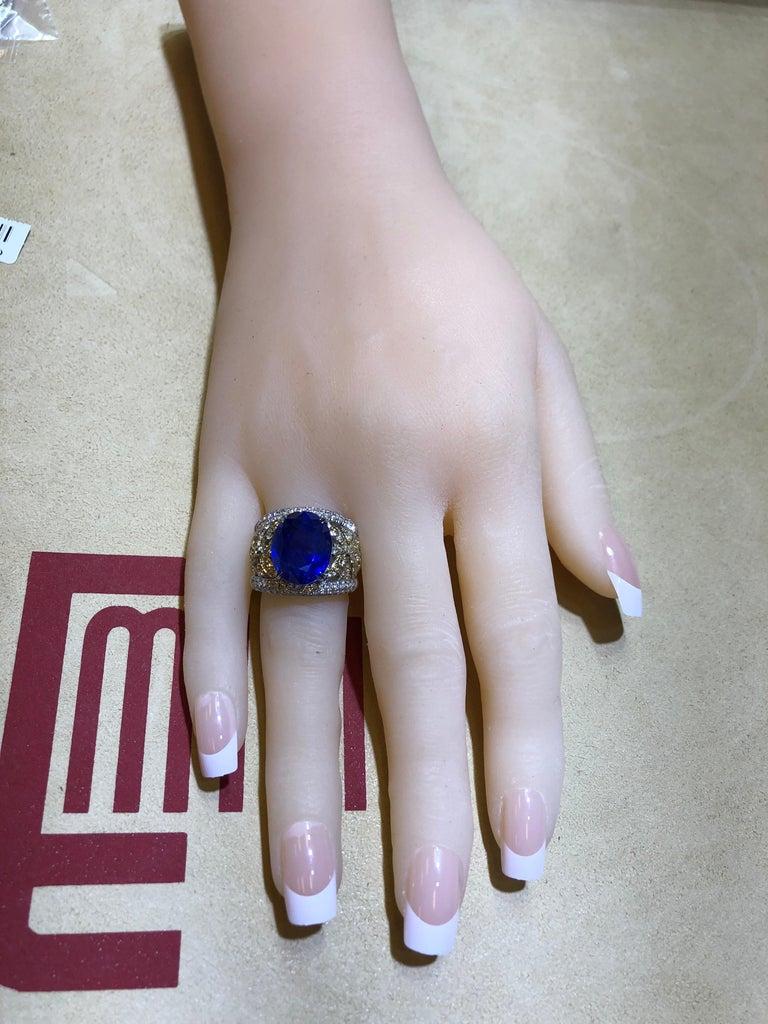 Emilio Jewelry 17.00 Carat AGL Certified Unheated Ceylon Sapphire Diamond Ring For Sale 8