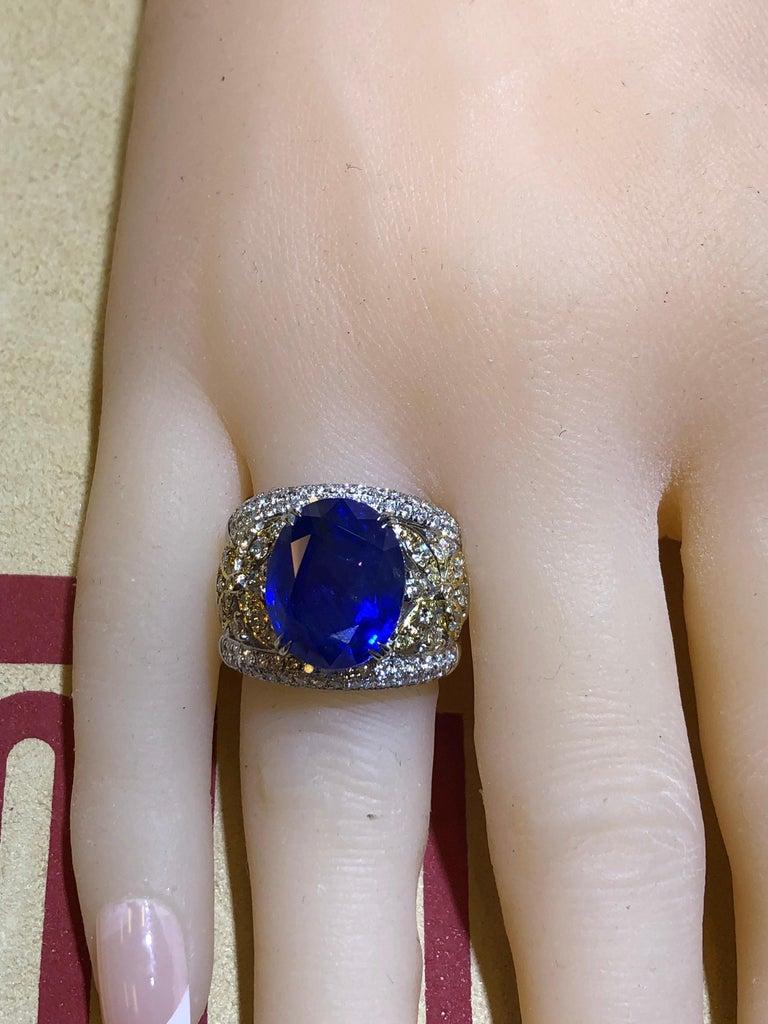 Emilio Jewelry 17.00 Carat AGL Certified Unheated Ceylon Sapphire Diamond Ring For Sale 9