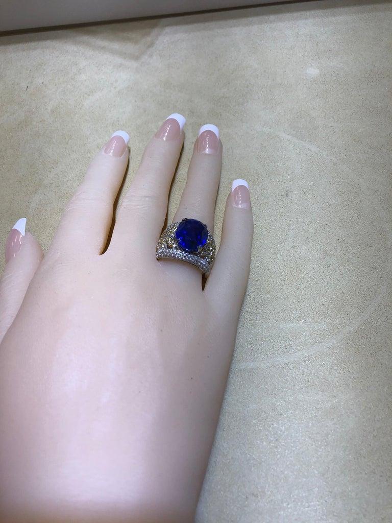 Emilio Jewelry 17.00 Carat AGL Certified Unheated Ceylon Sapphire Diamond Ring For Sale 12