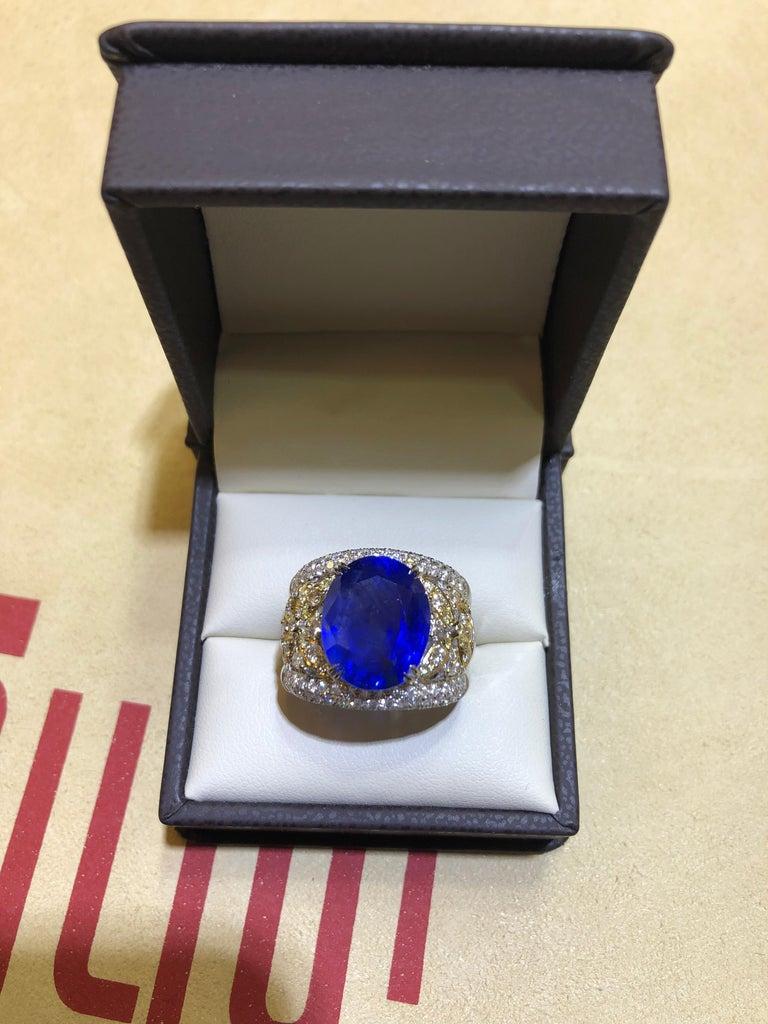 Emilio Jewelry 17.00 Carat AGL Certified Unheated Ceylon Sapphire Diamond Ring For Sale 13
