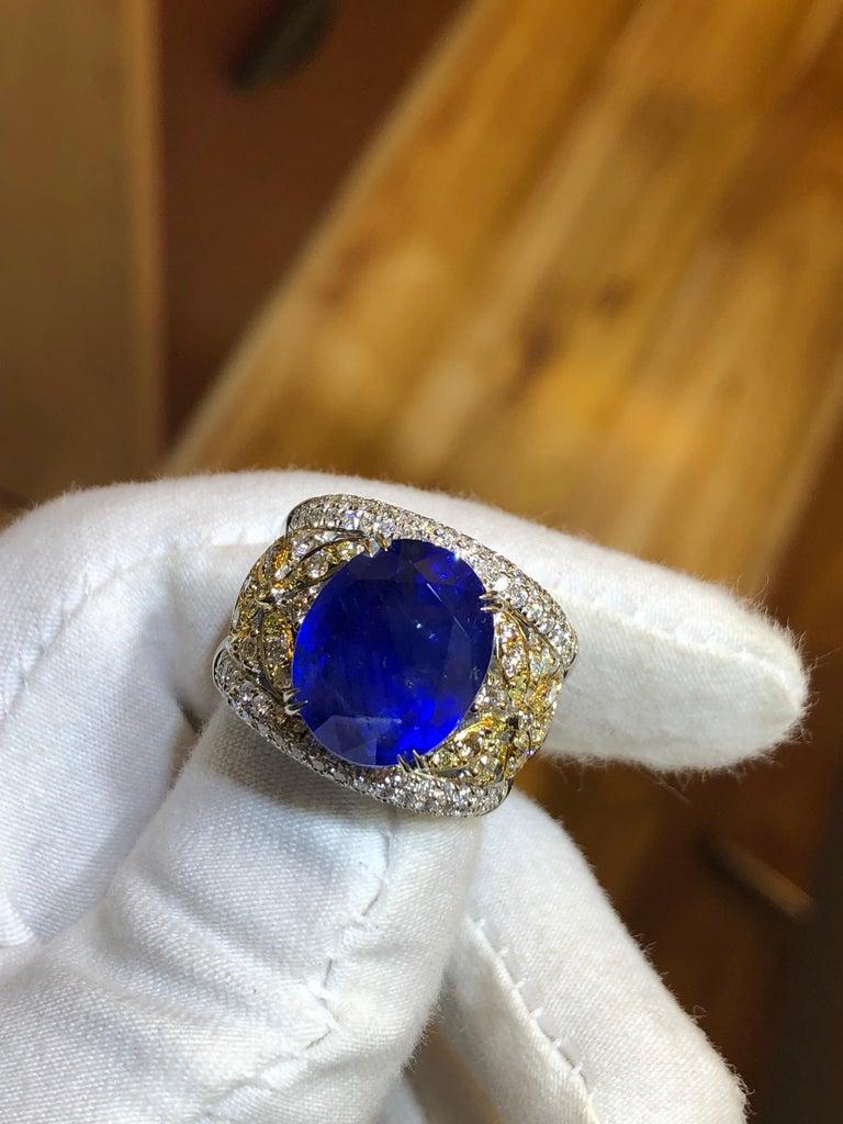 Emilio Jewelry 17.00 Carat AGL Certified Unheated Ceylon Sapphire Diamond Ring For Sale 3
