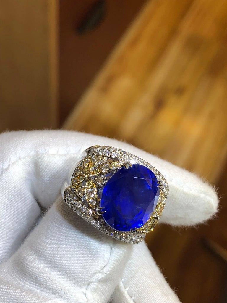 Emilio Jewelry 17.00 Carat AGL Certified Unheated Ceylon Sapphire Diamond Ring For Sale 4