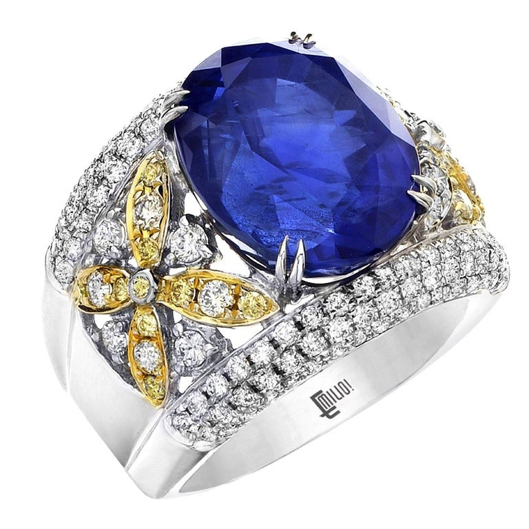Emilio Jewelry 17.00 Carat AGL Certified Unheated Ceylon Sapphire Diamond Ring For Sale