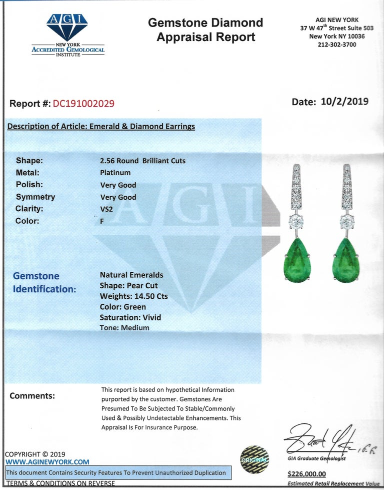Emilio Jewelry 17.06 Carat Vivid Green Pear Shape Emerald Diamond Earrings For Sale 2