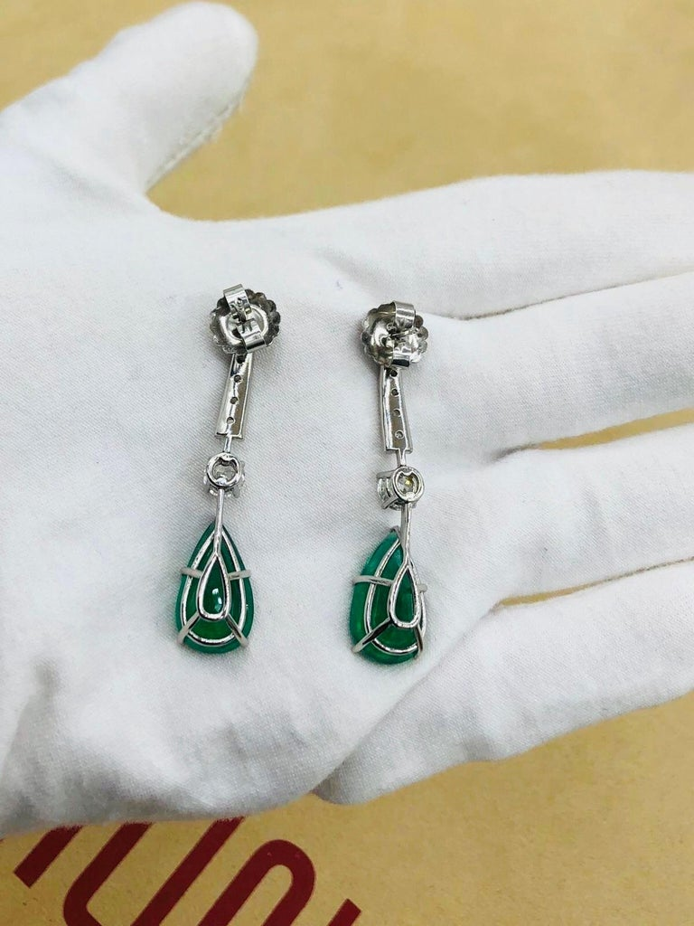 Emilio Jewelry 17.06 Carat Vivid Green Pear Shape Emerald Diamond Earrings For Sale 5